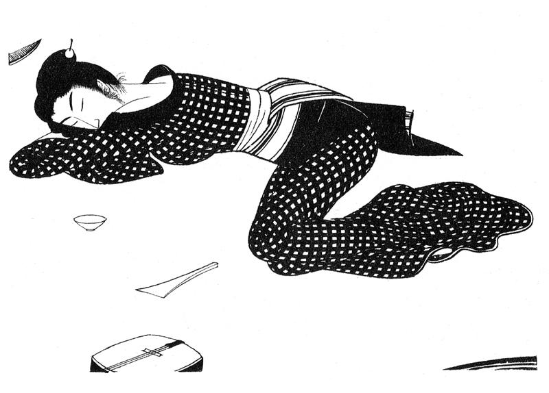 小村雪岱 「浪人倶楽部」(村松梢風作/1935〜36年讀賣新聞連載) 挿絵  「小村雪岱画譜」(龍星閣/1956年)より転載