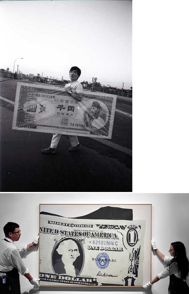 上:「模型千円札裁判, 赤瀬川原平, 1965」撮影:羽永光利 千円札を模写した赤瀬川さんの作品「復讐の形態学(殺す前に相手をよく見る)」(1963年/名古屋市美術館蔵)が刑事事件となり、「証拠品」として作品を持って出廷する赤瀬川さん。下:アンディ・ウォーホル「1ドル札」(1962年) 2015年のサザビーズ・オークションで日本円で40億の値がついた。Photo: Courtesy Sotheby's.