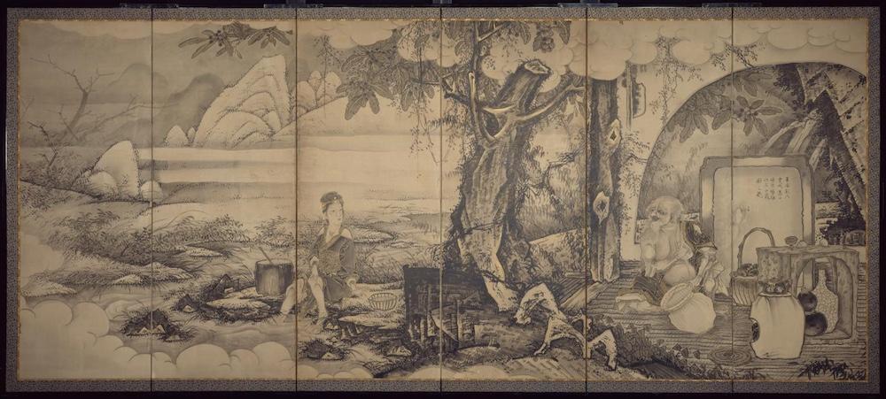 曾我蕭白「龐居士、霊昭女図屏風(見立久米仙人)」(1759) ウィリアム・スタージス・ビゲローコレクション/ボストン美術館所蔵