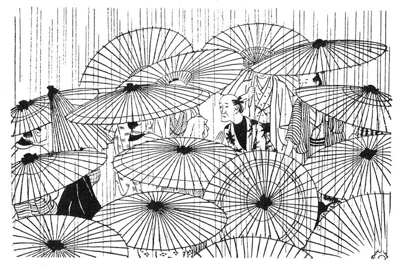 小村雪岱 「おせん」(邦枝完二作/朝日新聞1933年連載)挿絵 「小村雪岱画譜」(龍星閣/1956年)より転載
