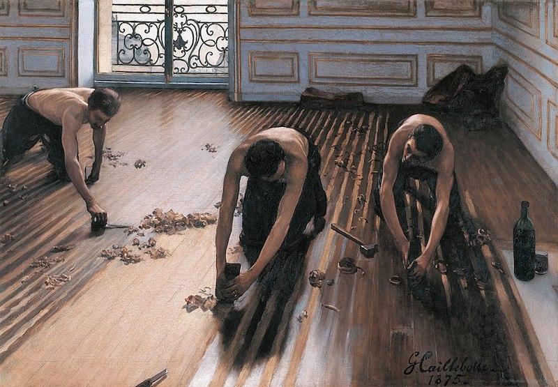 ギュスターヴ・カイユボット「床を削る人々」(オルセー美術館所蔵/1875年) ︎©Musée d'Orsay