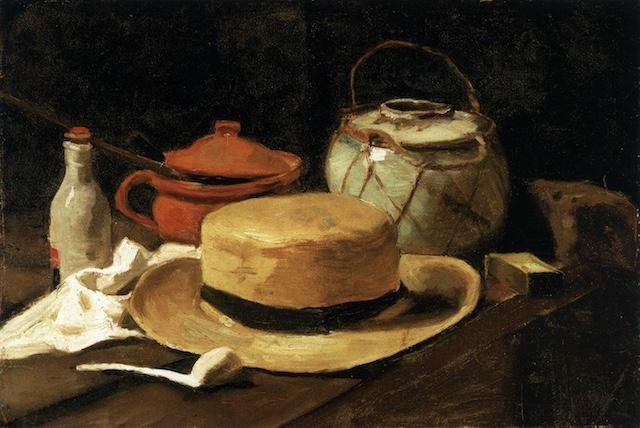 フィンセント・ファン・ゴッホ「麦わら帽子のある静物画」(1885) Wikimedia commonsより
