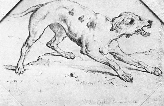 フィンセント・ファン・ゴッホ「Dog」(1862) 9歳の頃のデッサン。 www.vincent-van-gogh.gallery.org より