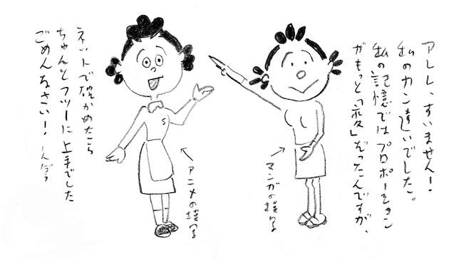 南伸坊画 「サザエさん」アニメ版&原作漫画のヘタ模写