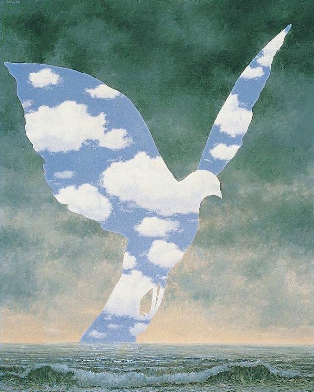 ルネ・マグリット「大家族」(1963 宇都宮美術館所蔵) 広告や音楽ジャケットにも大きな影響を与えているマグリットの作品の中でも、よく知られる作品。