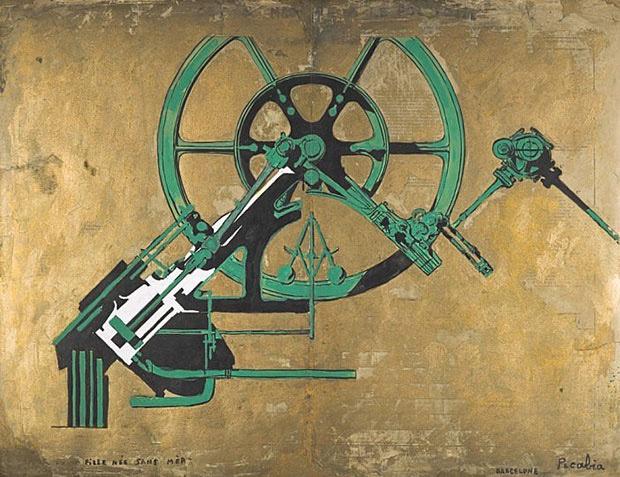 フランシス・ピカビア「母なしで生まれた娘」(1917) 時代ごとに作風を変えたピカビアでも最もよく知られるのが、「機械の時代」と呼ばれる歯車など機械部品をモチーフにしたシリーズで、初期ダダとも時代が重なる。