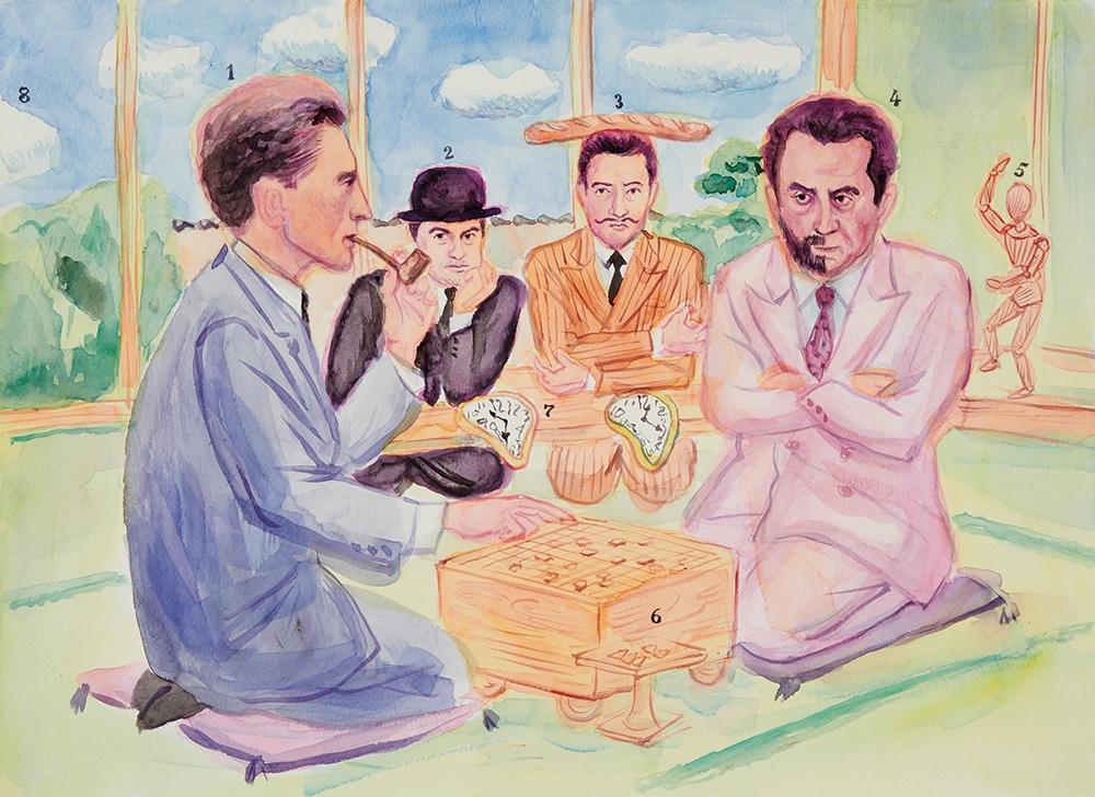 伊野孝行画「シュルレアリスム将棋」(2013 『イラストレーション』No.197 How to Drawのための作品) ディペイズマンの効果を狙って、シュルレアリストたちが将棋に興じる設定。デュシャン(1)とマン・レイ(4)の対局。マグリット(2)とダリ(3)は時計係。デュシャンは絵の制作をやめてチェスばかりしていた時期があり、マン・レイとチェスをしている写真も残っている。