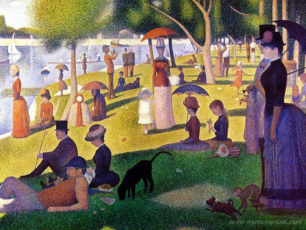 ジョルジュ・スーラ「グランド・ジャッド島の午後」(1884-86/シカゴ美術館所蔵) 点描で描かれたタテ207cmヨコ308cmの大作。スーラはこの作品の制作に約2年をかけており、これのためのデッサンや油彩スケッチ、習作を多数残している。